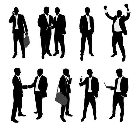 business partnership: business people silhouettes collection