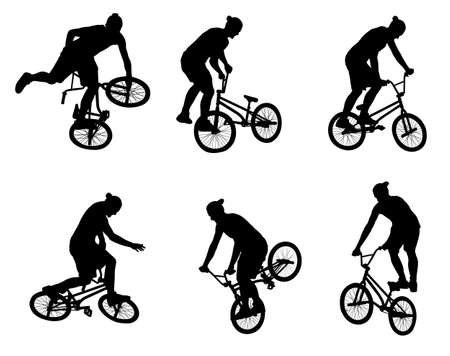 bicyclist: stunt bicyclist silhouettes - vector Illustration