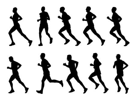 10 high quality marathon runners silhouettes - vector Фото со стока - 20242611