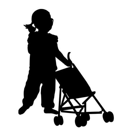 toddler playing: toddler playing with  stroller toy silhouette - vector