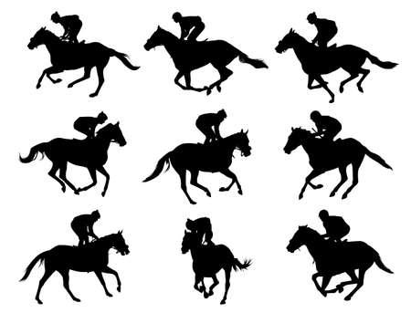 Konie wyścigowe i dżokejów sylwetki Ilustracje wektorowe