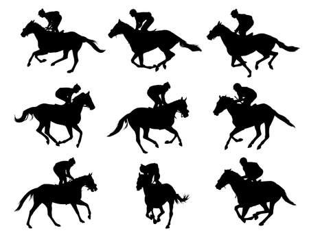 horseback riding: racing horses and jockeys silhouettes