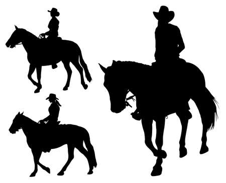 cowboy: cowgirl riding horse silhouettes Illustration