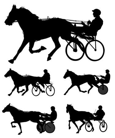 thoroughbred horse: trotters race silhouettes