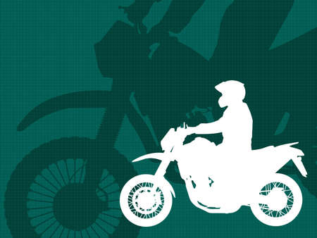 moped: motorcyclist silhouette on the abstract background - vector