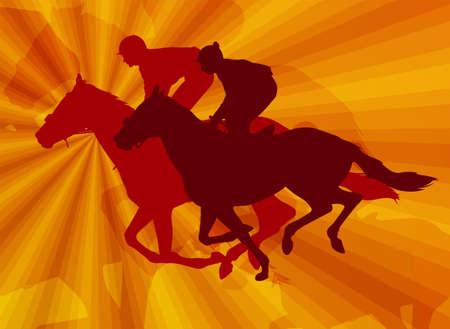 hobby horse: jockeys riding horses on the abstract background - vector