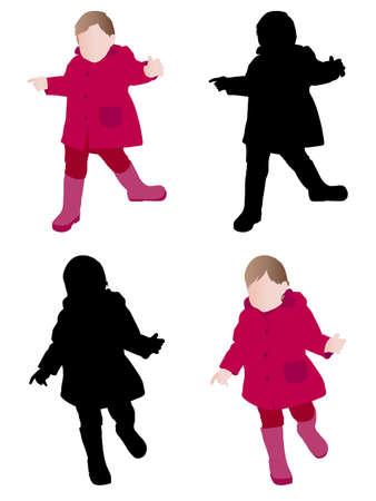 raincoat: toddler wearing raincoat - vector