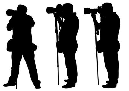 photographers with monopod silhouettes  Illustration