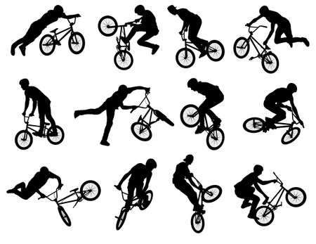 12 high quality silhouettes of BMX stunt cyclist  Vector