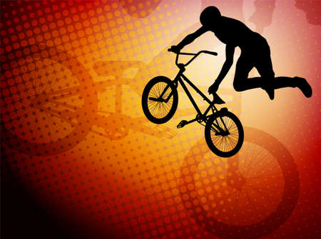 bmx stunt cyclist silhouette on the abstract background