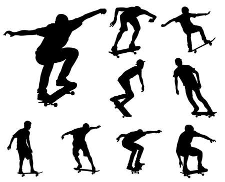 skateboard boy: skateboarders silhouettes collection  Illustration