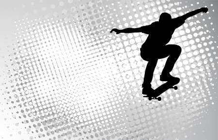 skateboard: skateboarder on the abstract halftone background