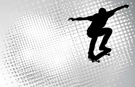 skateboard boy: skateboarder on the abstract halftone background