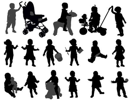 toddler silhouettes collection  Vector