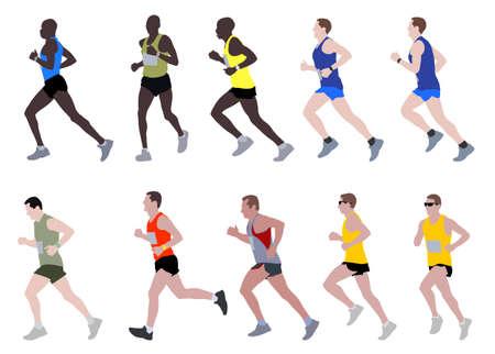 marathon runners illustration Stock Vector - 22279742