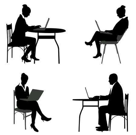 business people working on their laptops silhouettes