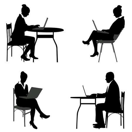 mensen uit het bedrijfsleven werken op hun laptops silhouetten