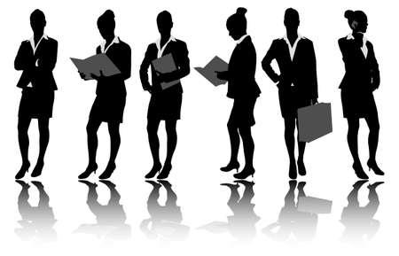 estuche: Siluetas de empresaria Vectores