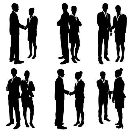 people in business: business people handshake silhouettes