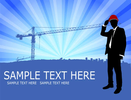 architect standing in front of abstract construction site background  Vector