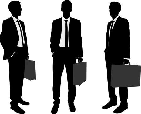 young businessman: businessman holding briefcase silhouettes
