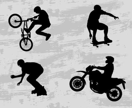 extreme danger: extreme sport silhouettes