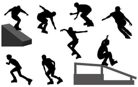 inline skate silhouetten - vector Vector Illustratie
