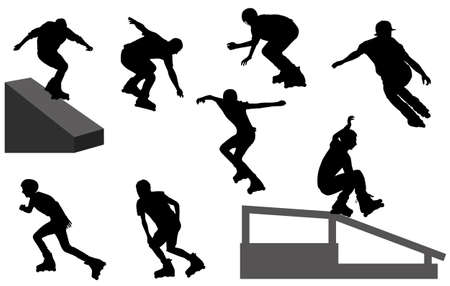 roller blade: inline skate silhouettes - vector