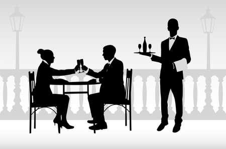 casal no restaurante e garçom servindo-los- vector