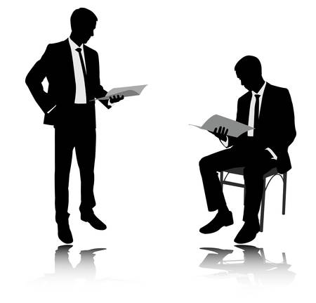 person reading: businessman reading report silhouettes - vector Illustration