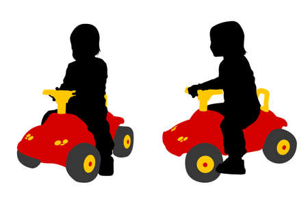 govern: toddler seats on the big car toy - vector Illustration