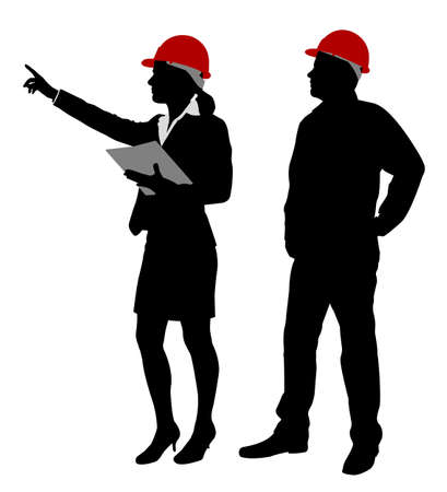 construction team: engineer and foreman working silhouettes - vector Illustration