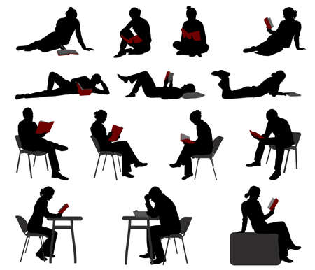 silhouettes of people reading books - vector Çizim