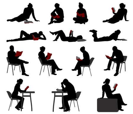 alumnos estudiando: siluetas de la gente que lee libros - vector