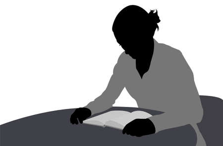 woman reading book: woman reading book illustration - vector