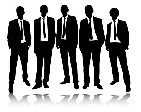 group of businessmen standing and posing - vector Illustration