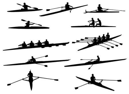 rowboat: siluetas de remo - vector Vectores