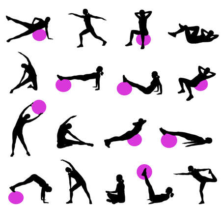 pilates: silhouettes of women doing pilates - vector Illustration