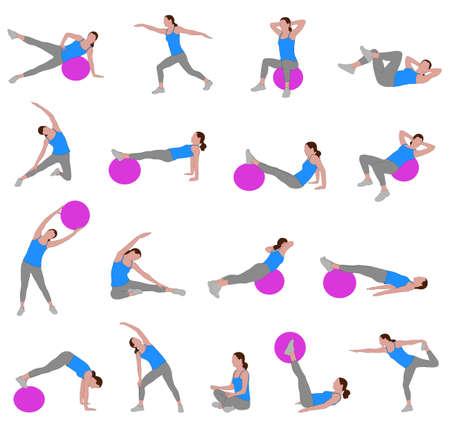 vrouwen doen pilates - vectorillustratie