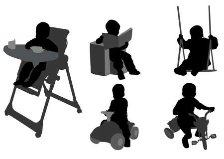 toddlers silhouettes 3 - vector Vector