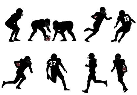 football player: american football silhouettes - vector