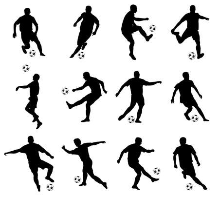 world player: soccer players detailed silhouettes set - vector