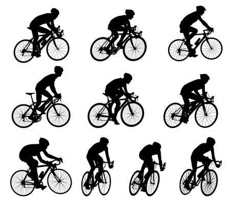 10 high quality race bicyclists silhouettes  Vector