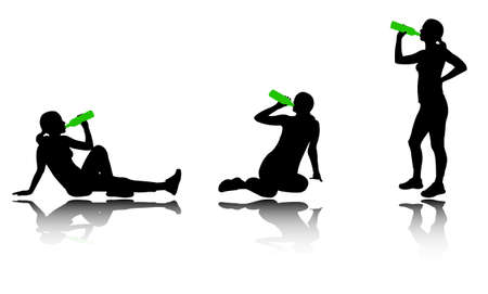woman drinking water after training silhouettes   Vector