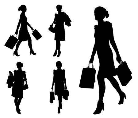ショッピング バッグ シルエット - 女性をベクトルします。