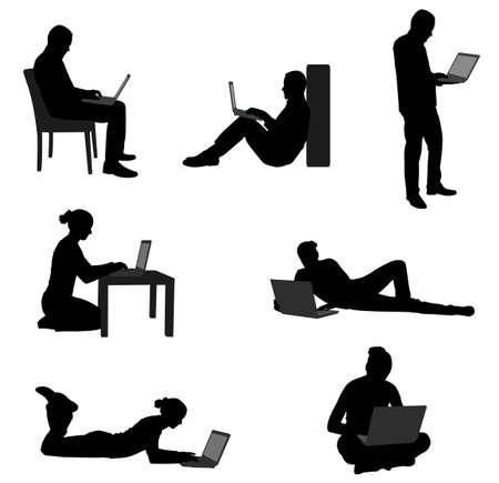 mensen die werken op hun laptops - vector