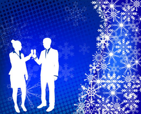 young couple raising toast on the abstract background - vector Vector