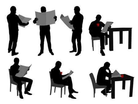 hombre sentado: hombre leyendo periódicos siluetas - vector