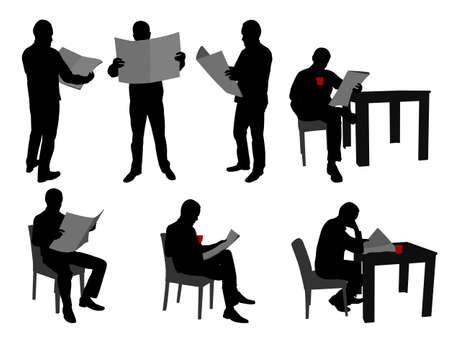 seated: man reading newspapers silhouettes - vector