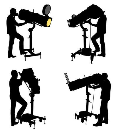 reflector: follow spot operator silhouettes - vector Illustration
